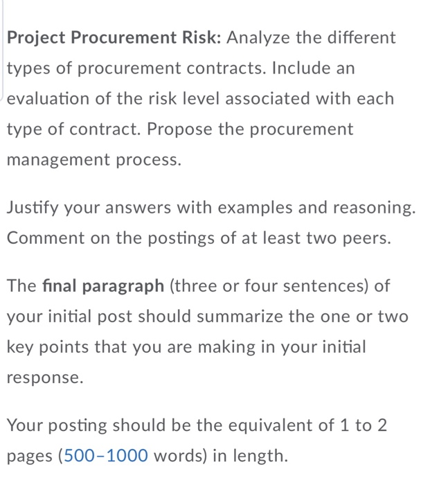 Solved: Project Procurement Risk: Analyze The Different Ty