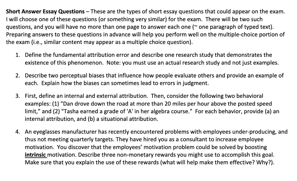 Solved: Short Answer Essay Questions -These Are The Types ... | Chegg.com