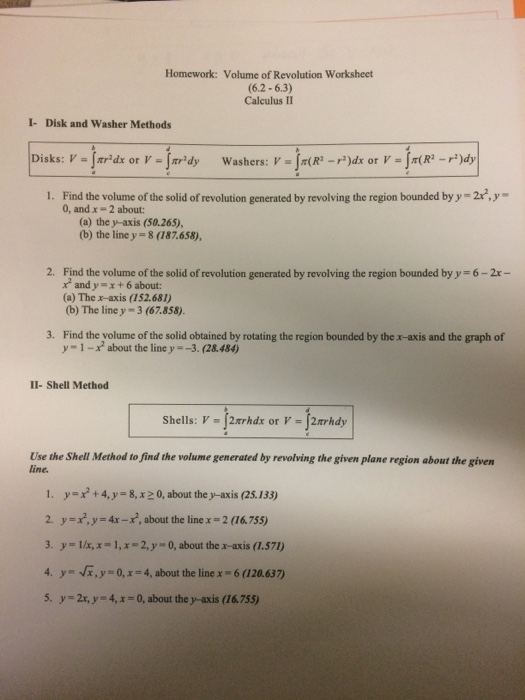 Solved Find The Volume Of The Solid Of Revolution Generat
