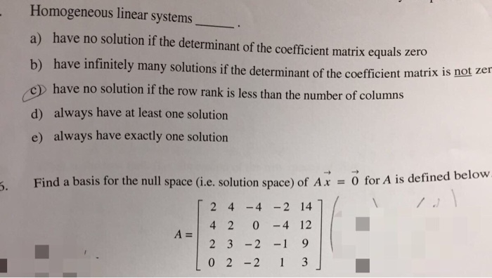 how to find non trivial solutions of a matrix