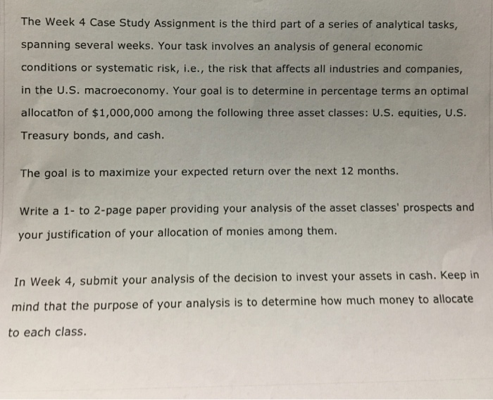 The Week 4 Case Study Assignment Is The Third Part    | Chegg com