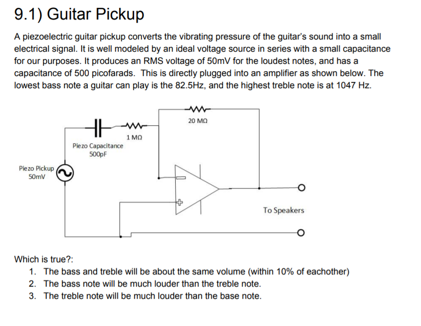 Solved: 9 1) Guitar Pickup A Piezoelectric Guitar Pickup C
