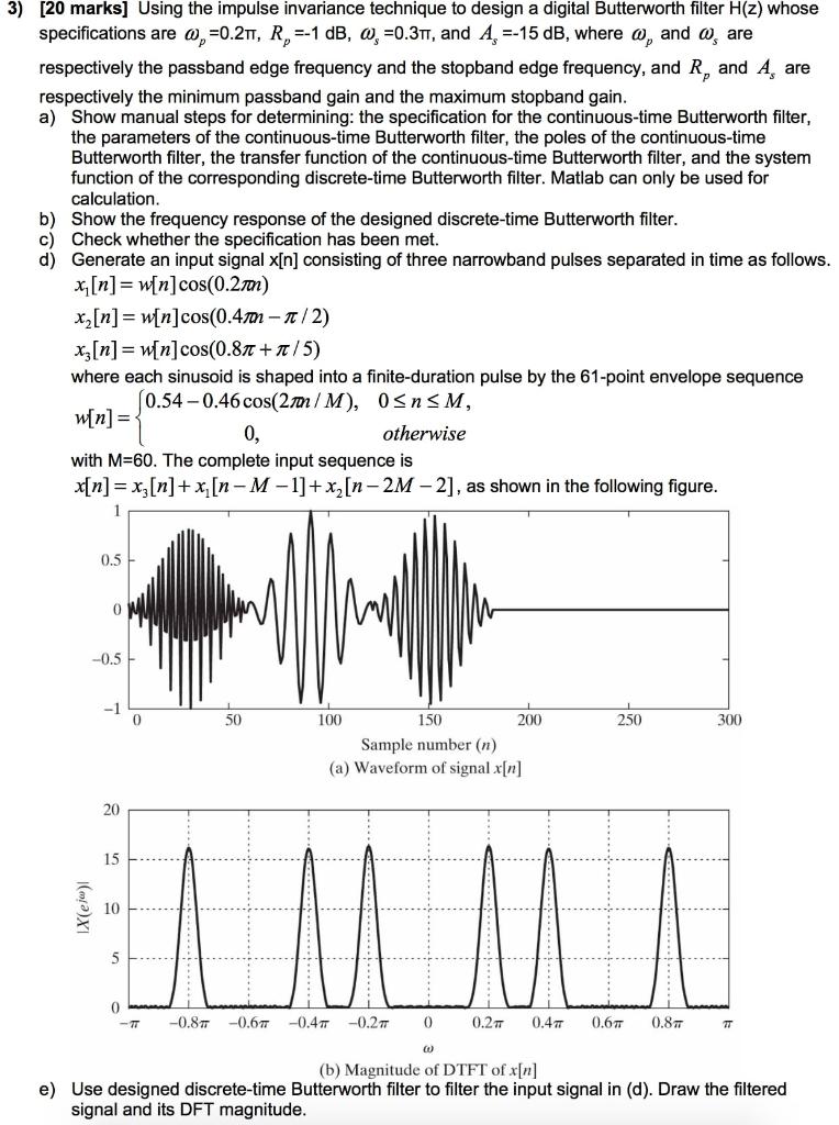 3) [20 Marks] Using The Impulse Invariance Techniq