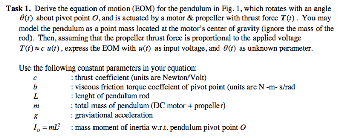 Task 1  Derive The Equation Of Motion (EOM) For Th