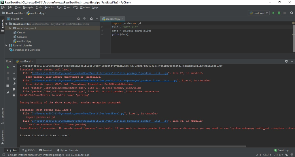 Hello, I Have Installed Pandas And Xlrd In Pycharm