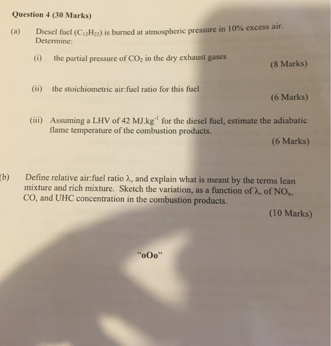Solved: Question 4 (30 Marks) Esel Fuel (C12H22) Is Burned
