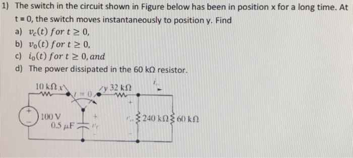 Solved: 1) The Switch In The Circuit Shown In Figure Below ...
