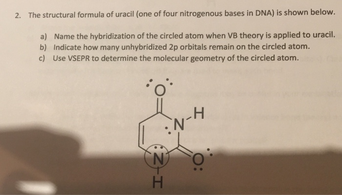 solved 2 the structural formula of uracil one of four n
