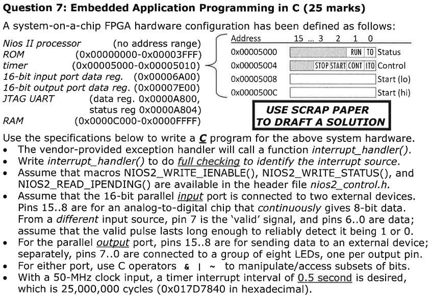 Question 7: Embedded Application Programming In C