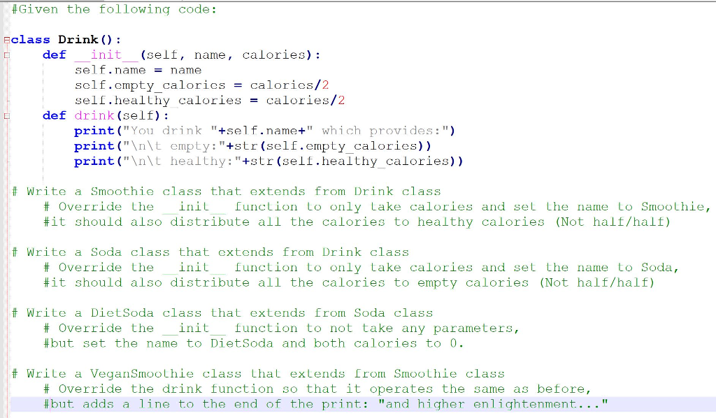 Solved: Create 4 Classes Extending From A Base Drink Class