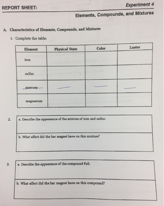 Solved: Experiment 4 REPORT SHEET: Elements, Compounds, An ...