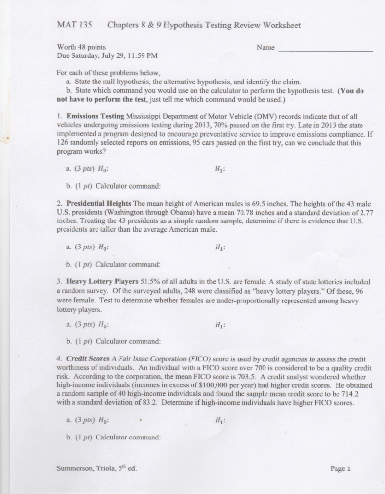 Solved: This Is A Worksheet For My Summer Stats Class, I T