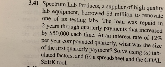 Solved: 3 41 Spectrum Lab Products, A Supplier Of High Qua