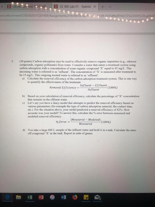 Solved: B CE 360 Lab 01 -Statisti X+v Entattachment/COE360