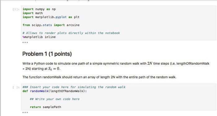 1: Import Numpy As Np Import Math Import Matplotl    | Chegg com