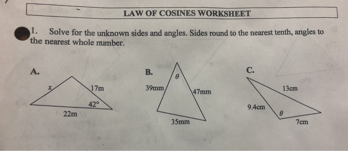 Law of Cosines  Ex le 1   YouTube furthermore Unled additionally Law of Cosines Kuta Part 1 of 3   YouTube likewise Law Of Cosines Applications also Law Of Sines Worksheet Gallery For Kids Maths Printing Cosines And as well  likewise The Law Of Cosines Worksheet Best Of Law Of Cosines Law Of Cosines likewise Law of Cosines Worksheet   Ignacio District in addition Law of Cosine Ex le   MATHGOTSERVED additionally Law Of Sines Cosines Worksheet   Kidz Activities also Law of Cosines   Kuta Infinite Algebra 2 Name The Law of likewise  moreover Law of Sines and Cosines Worksheet with Key  pdf likewise Worksheet search result by word   The law of cosines worksheet show moreover Solved  LAW OF COSINES WORKSHEET 1  Solve For The Unknown likewise Law Of Sines and Cosines Worksheet   Mychaume. on the law of cosines worksheet