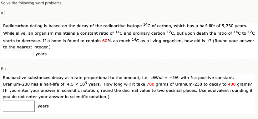 carbon dating word problems