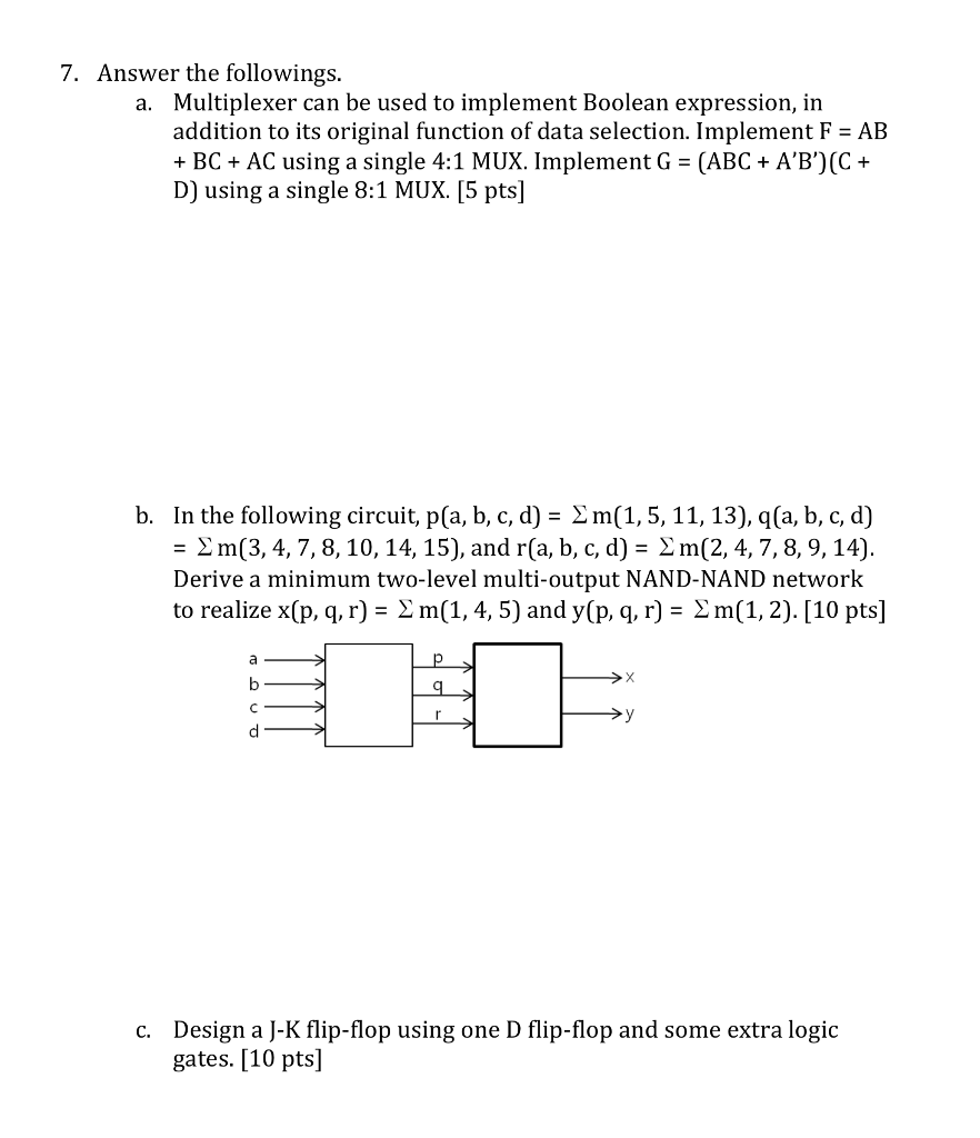 Solved: 7  Answer The Followings Multiplexer Can Be Used T