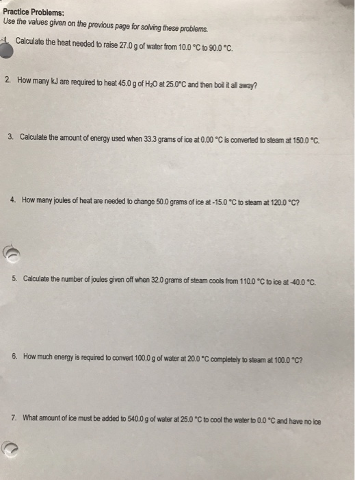 Solved: Thermochemistry Worksheet-Energy Changes Involving ...