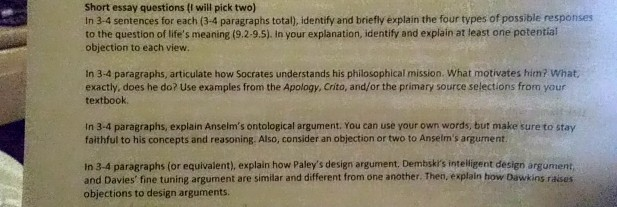 philosophical paragraphs