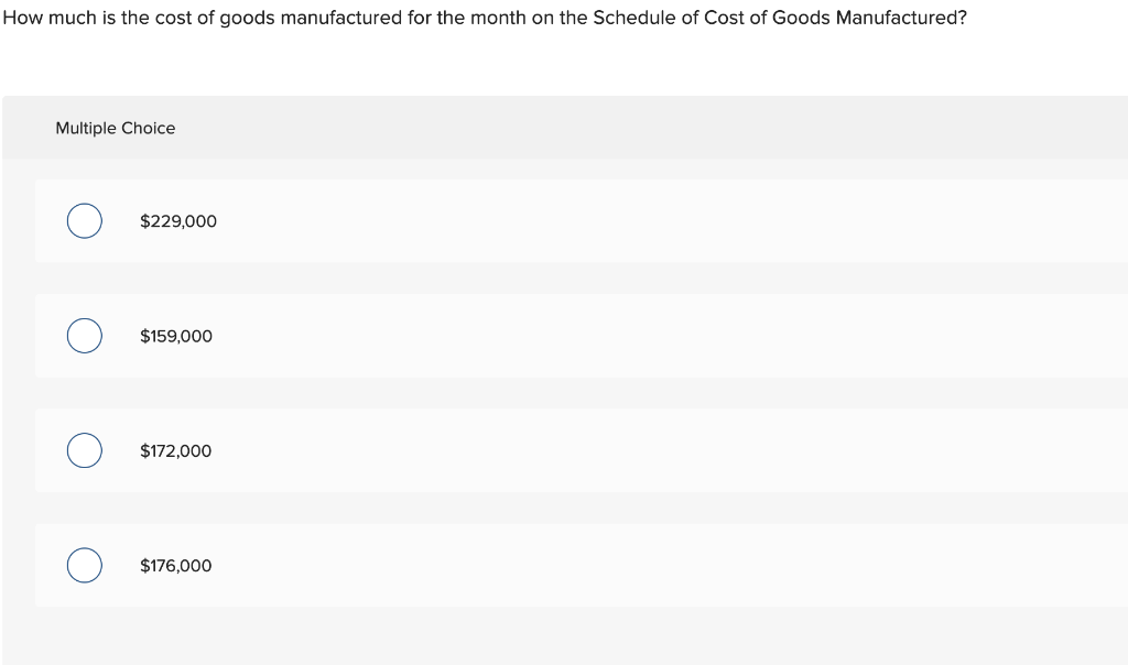 How much is the cost of goods manufactured for the month on the Schedule of Cost of Goods Manufactured? Multiple Choice $229,