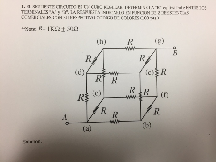 Circuito H : Solved find the equivalent resistance between a and b pl