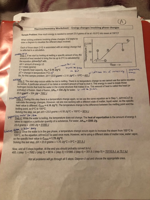 Solved: Thermochemistry Worksheet- Energy Changes Involvin ...