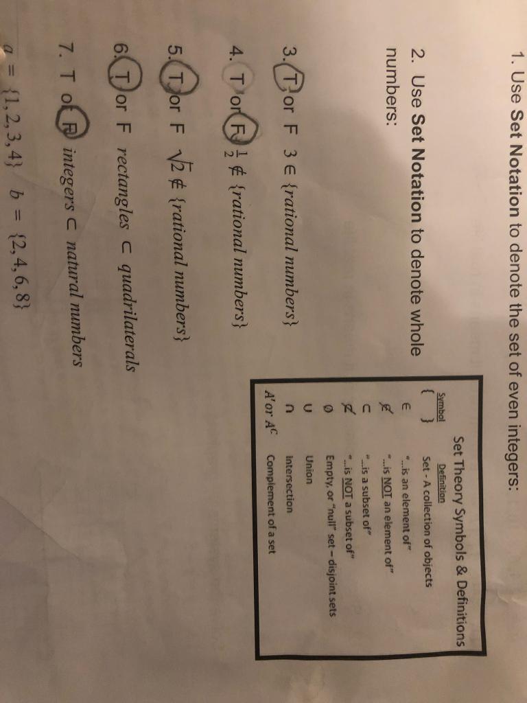 Solved 1 Use Set Notation To Denote The Set Of Even Inte Chegg Com
