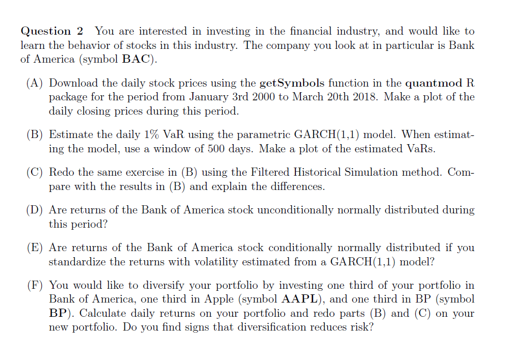 Question 2 You Are Interested In Investing In The