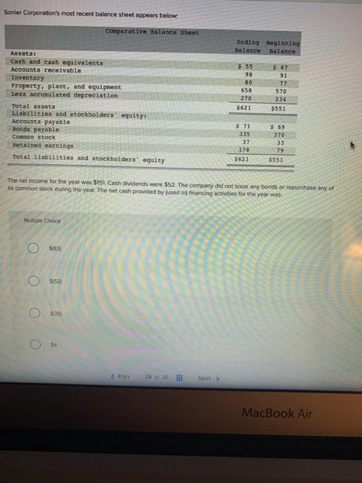 solved sonler corporation s most recent balance sheet app