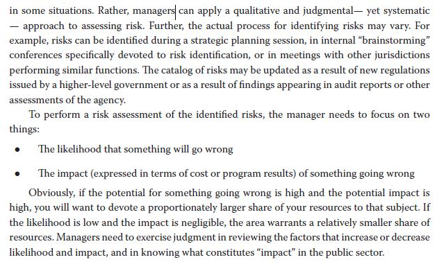 in some situations. Rather, managers can apply a qualitative and judgmental- yet systematic approach to assessing risk. Furth