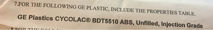 Solved: FOR THE FOLLOWING GE PLASTIC, INCLUDE THE PROPERTI