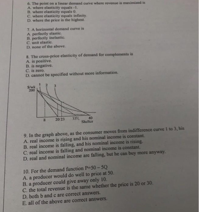 Solved 6 The Point On A Linear Demand Curve Where Revenu