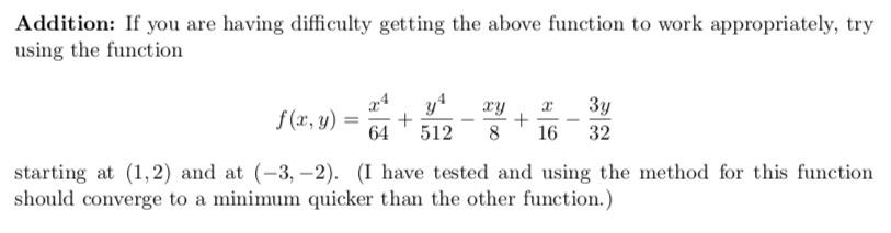 Solved: Method Of Gradient Descent  Often The Functions In