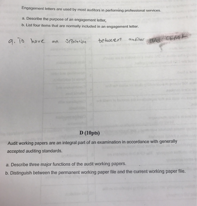 Solved: Engagement Letters Are Used By Most Auditors In Pe ...