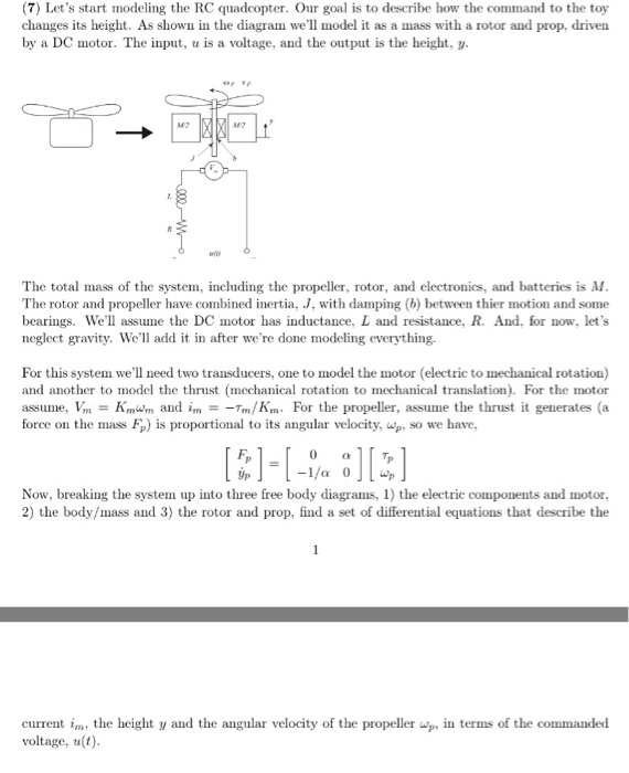 Solved: (7) Let's Start Modeling The RC Quadcopter  Our Go