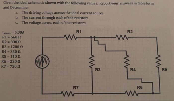 Solved: Given The Ideal Schematic Shown With The Following ...