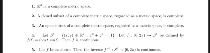 Solved 1 Rd Ia A Complete Metric Space 2 A Closed Subs