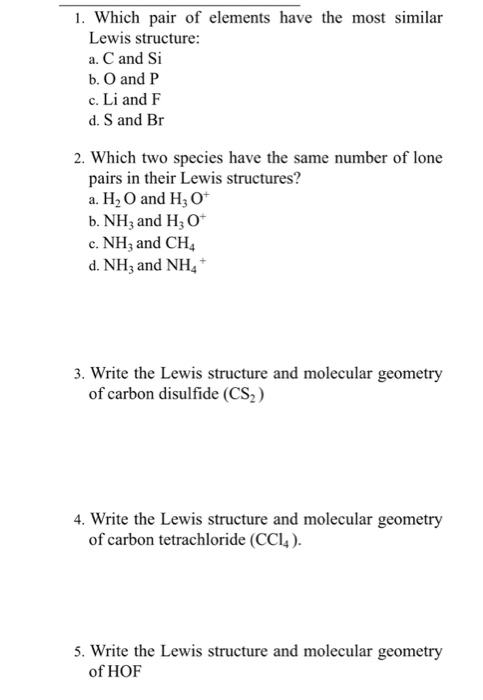 Solved 1 Which Pair Of Elements Have The Most Similar Le