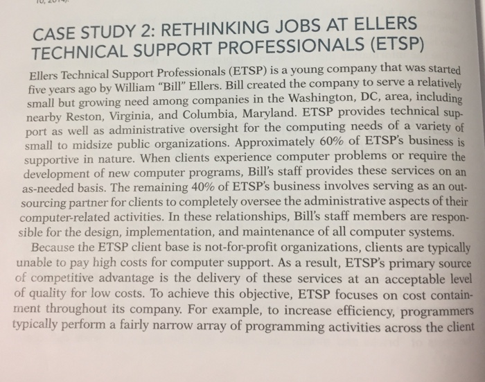 Solved: CASE STUDY 2: RETHINKING JOBS AT ELLERS TECHNICAL ...