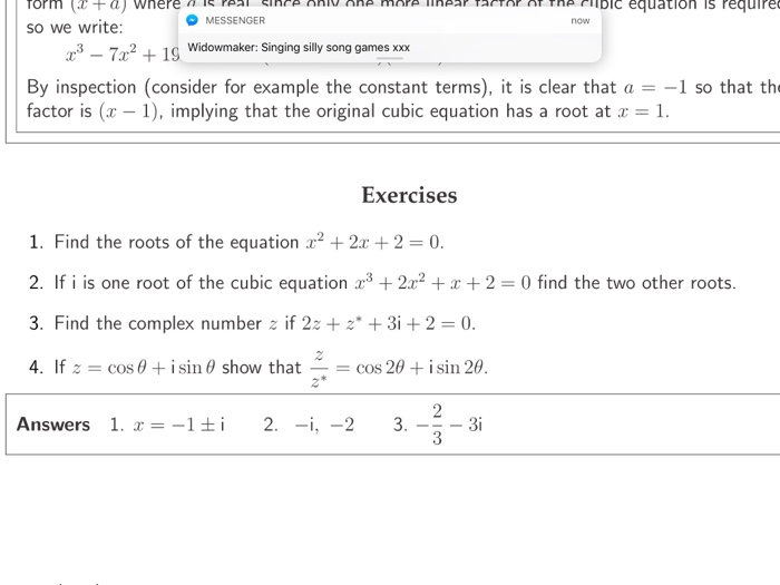 Solved When Given One Root Of A Cubic Complex In This Ex