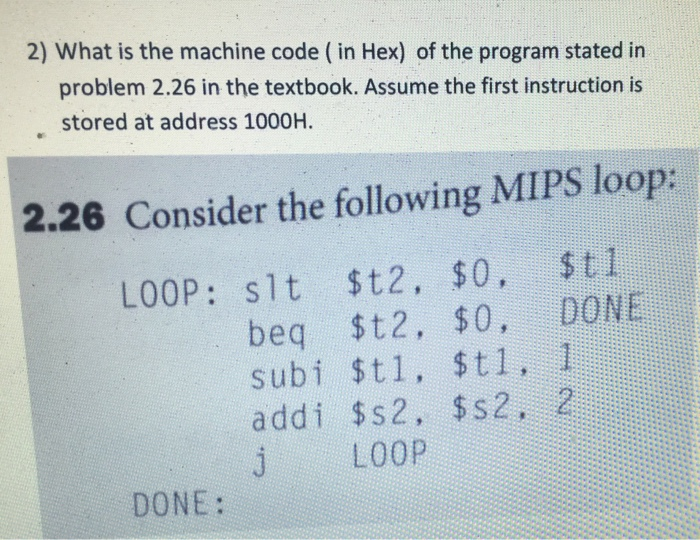 solved 2 what is the machine code in hex of the progr
