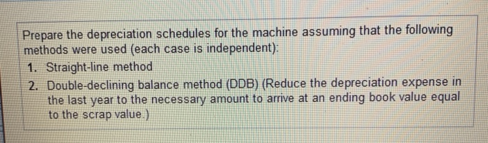 Prepare the depreciation schedules for the machine assuming that the following methods were used (each case is independent) 1