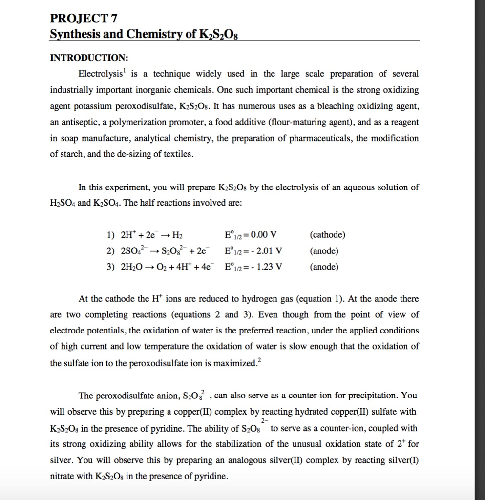 Solved: PROJECT 7 Svnthesis And Chemistry Of K»S2O INTRODU
