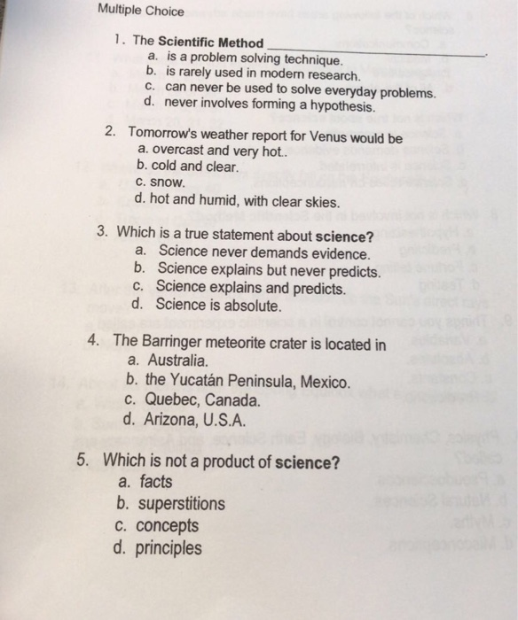 Solved: Multiple Choice 1  The Scientific Method A  Is A P