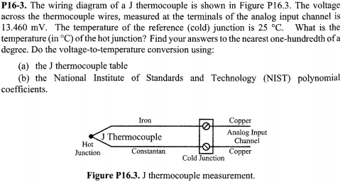 Solved: P16-3. The Wiring Diagram Of A J Thermocouple Is S ... on