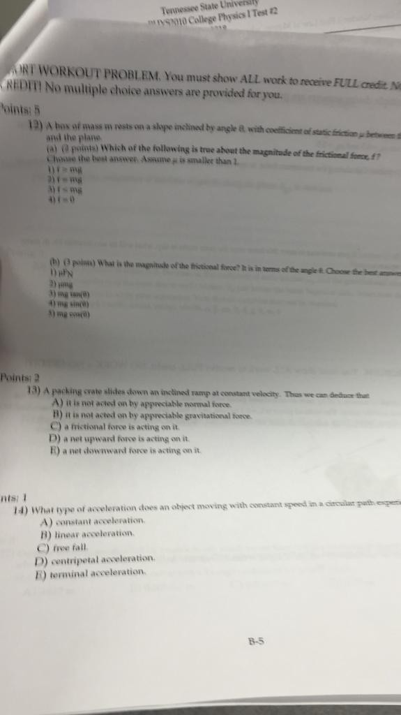Solved: Tennessee State Universily S College Physics I Tes