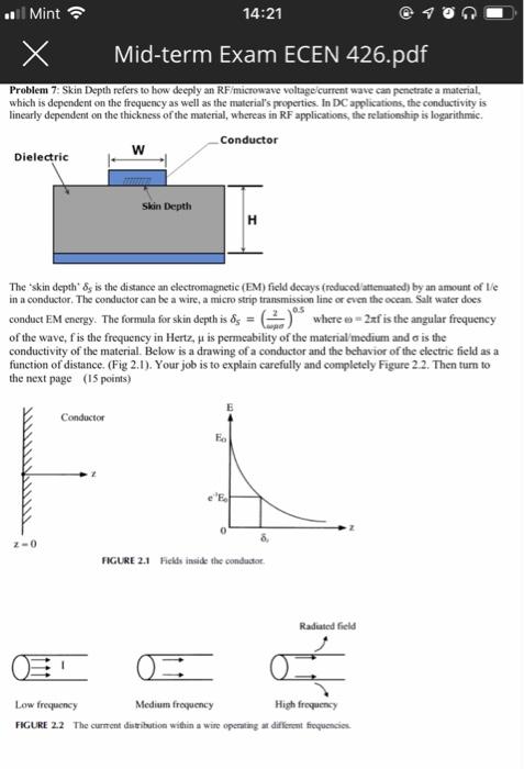 Solved: Mint 14:21 XMid-term Exam ECEN 426 pdf Problem 7