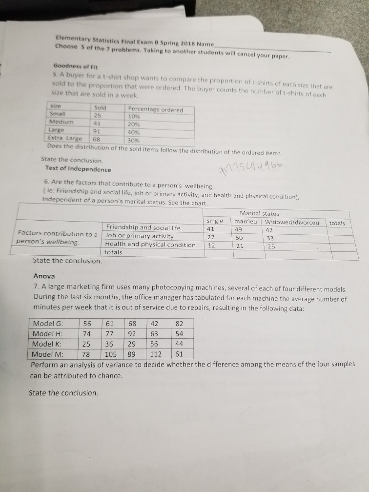 Solved: Elementary Statistics Final Exam B Spring 2018 Nam