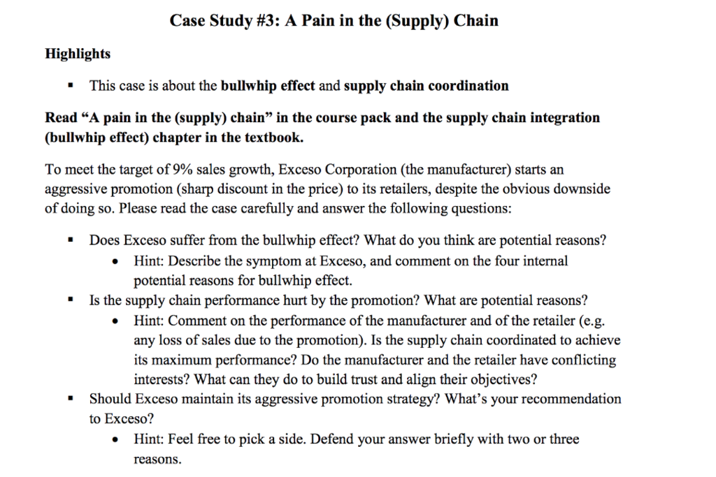 Solved: Case Study #3: A Pain In The (Supply) Chain Highli